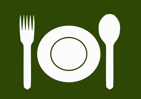 empty plate: Empty plate with  spoon and fork