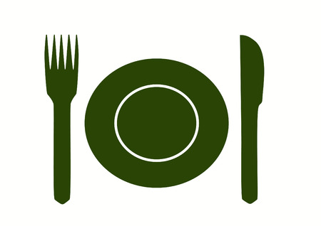 empty plate: Empty plate with  knife and fork