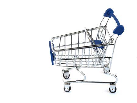 Blue shopping cart isolated on white background.