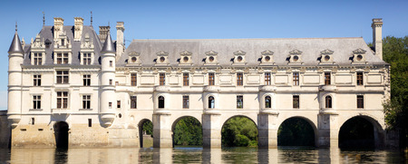 romantic view of the Chenonceau castle in france