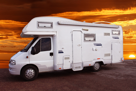 wonderful motorhome with fantastic sunset view Editorial