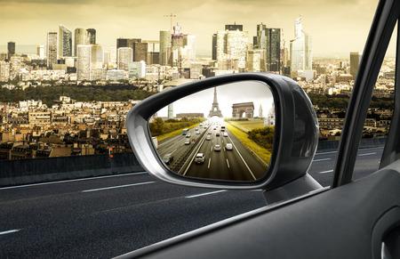 Paris view through a rearview mirror Standard-Bild