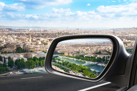 Paris view through a rearview mirror Banco de Imagens