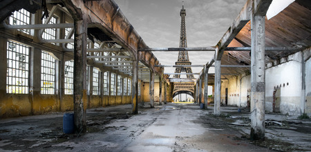 View of the post-apocalyptic Eiffel Tower
