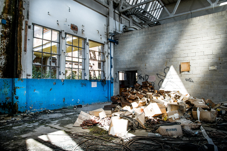 a desolate abandoned factory view