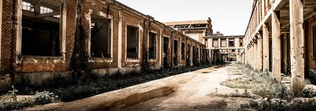 antique factory: a desolate abandoned factory view