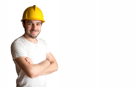 an young smiling worker on white background