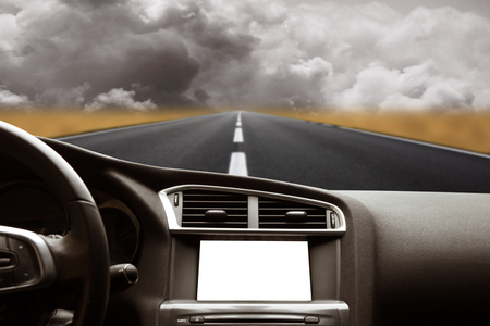 view of the road from inside the car