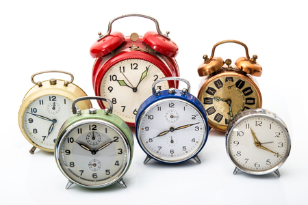 old alarm clock on white background