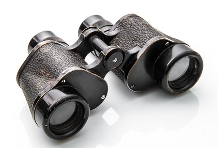 old black binoculars on white background