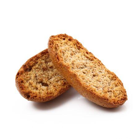 original crunchy bread on white background