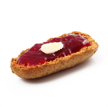 original crunchy bread with jam on white background Imagens