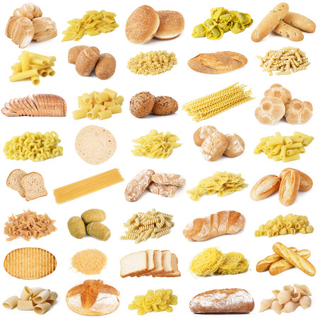 collage van originele Italiaanse pasta en brood