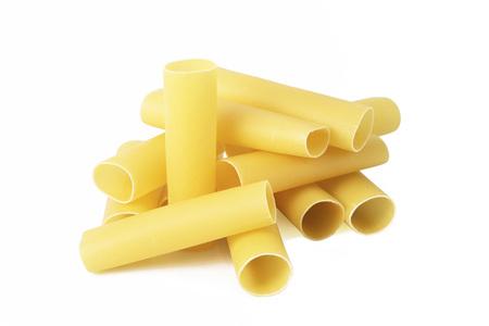 italian raw pasta on white background Stock Photo