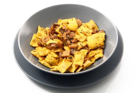 italian ravioli pasta with mushroom on white background