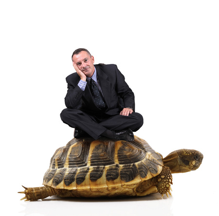 Manager sitting on a turtle Фото со стока - 87806631