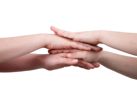 hands on top of each other on white background Banco de Imagens