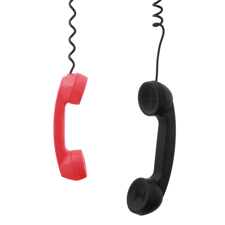 old handset of phone on white background