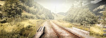 Train rails in Mountain landscape
