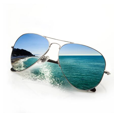 sunglasses with sea view on white background