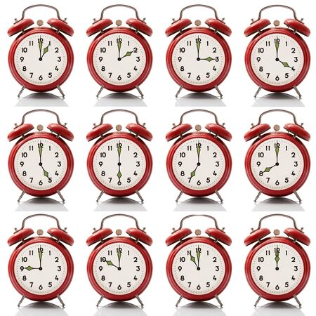 isolated collage alarm clock at every hour on white background Stock Photo