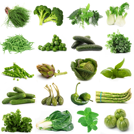 a background of fresh green vegetables