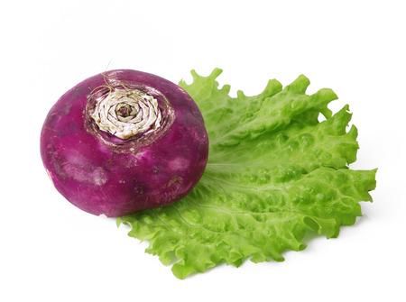 a fresh red turnip on white background