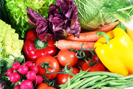 a background of fresh vegetables