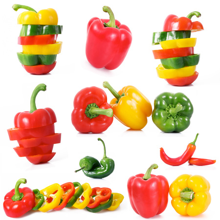 fresh hot peppers collage on white background