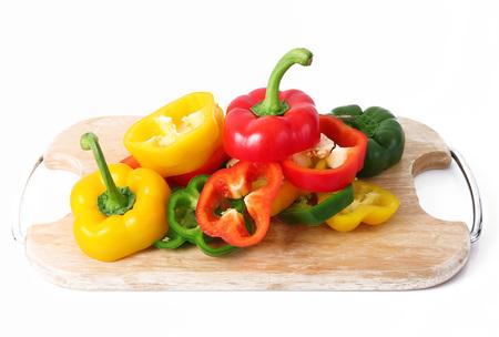 fresh hot cut pepper on white background