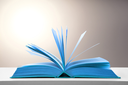 blue open book on the table
