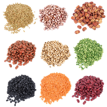 dry legumes collage on white background