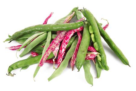 fresh green beans on white background Banco de Imagens