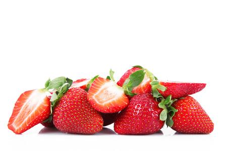 fresh strawberries on white background Banco de Imagens
