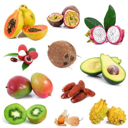 fresh exotic fruit collage on white background