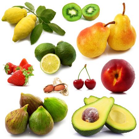 fresh fruit collage on white background Stockfoto