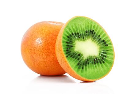 strange ibrid fruit kiwi-grapefruit