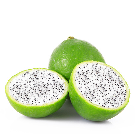strange ibrid fruit lime-dragon fruit