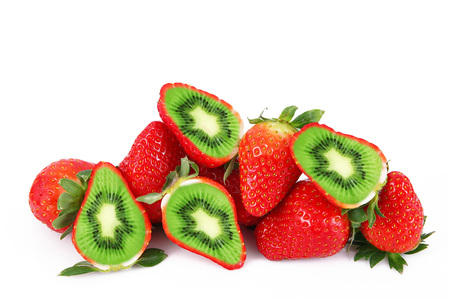 strange ibrid fruit strawberry-kiwi