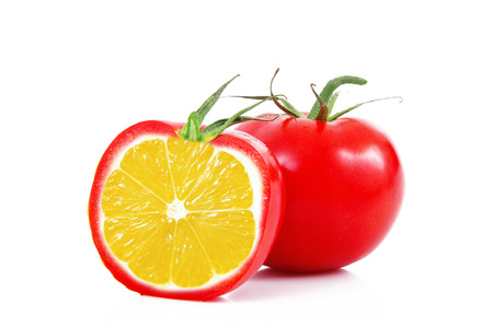 strange ibrid vegetable fruit lemon-tomato