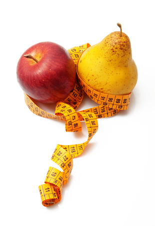 fresh fruit with meter on white background
