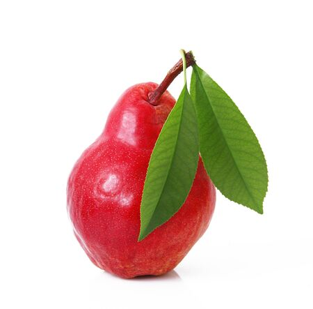 fresh red pear on white background