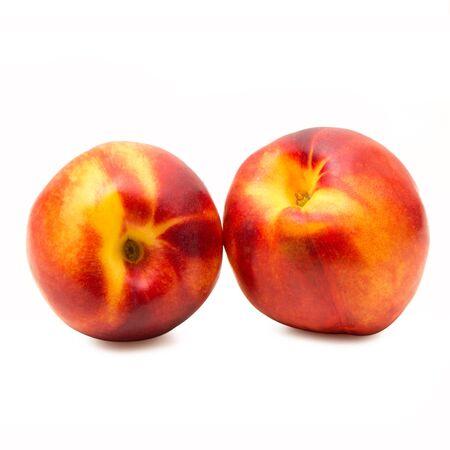 fresh peaches on white background Banco de Imagens