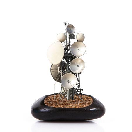 antenna inside stone on white background