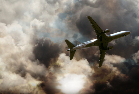 an airplane flying in the storm