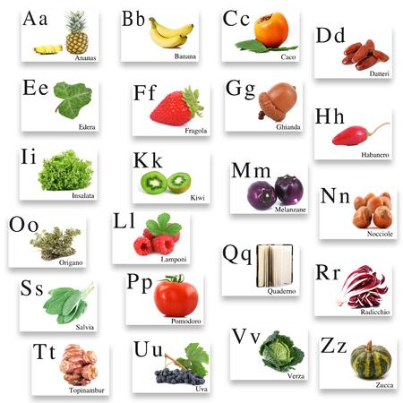 italian alphabet with image on white background