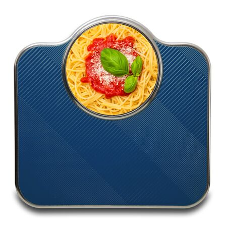 Scales for people with italian pasta on white background