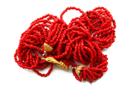 red coral Necklace on white background 免版税图像