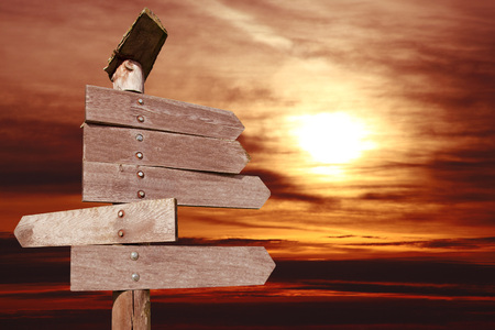 directional wooden arrows on sunset background