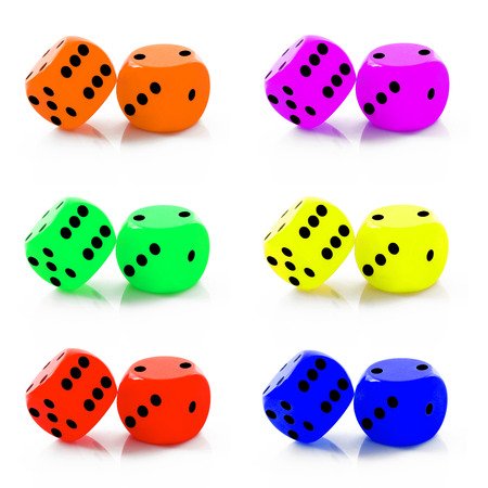 dice collage on white background
